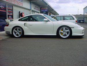 white porsche 996 gt2 targa outside East Coast Suspensions workshop